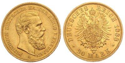 20 Mark Gold Preußen Kaiserreich Münzen verkaufen - Ankaufspreise