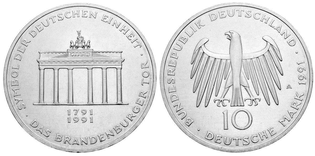 10 Dm 200 Jahre Brandenburger Tor Brd 1991 Muenzenladende