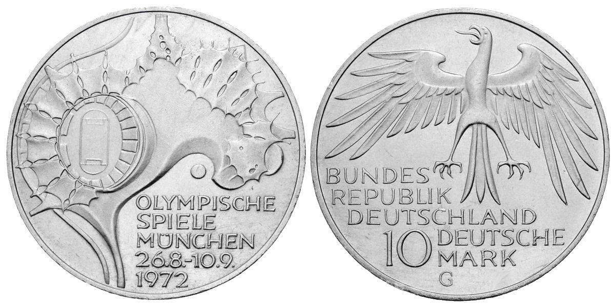10 Dm Olympische Spiele Sportstatten Brd 1972 Muenzenladen De