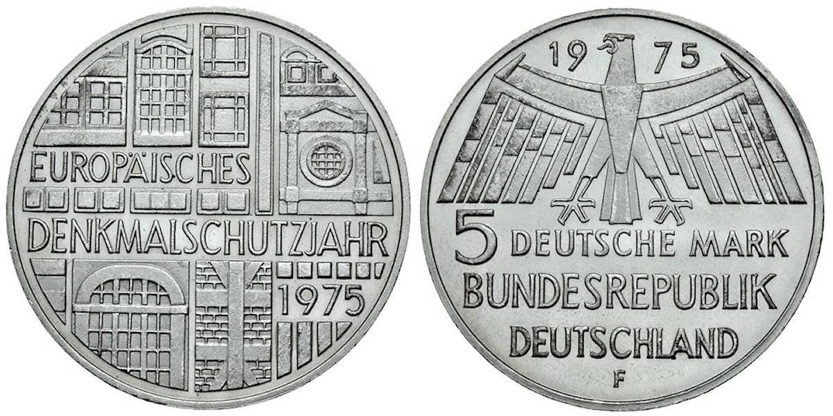5 Dm Europäisches Denkmalschutzjahr Brd 1975 Muenzenladende