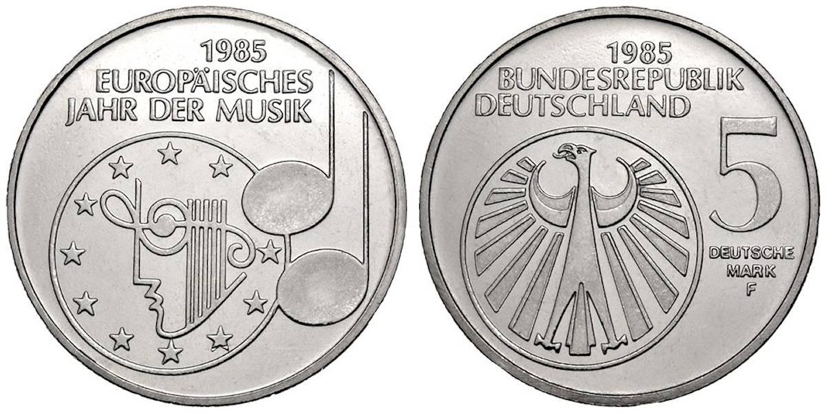 5 Dm Europäisches Jahr Der Musik Brd 1985 Muenzenladende