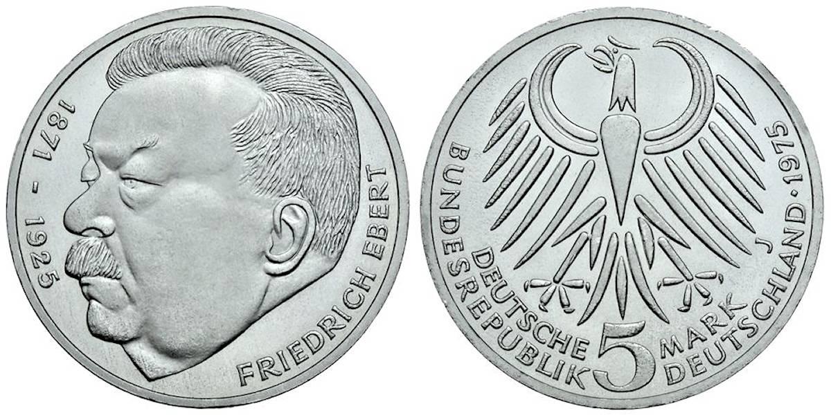 5 Dm Friedrich Ebert Brd 1975 Muenzenladende