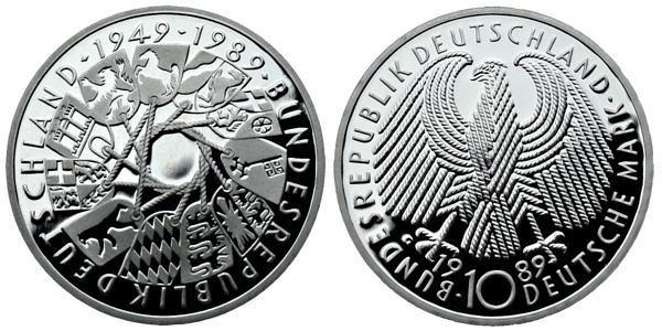 10 Dm 50 Jahre Bundesverfassungsgericht Brd 2001 Muenzenladende