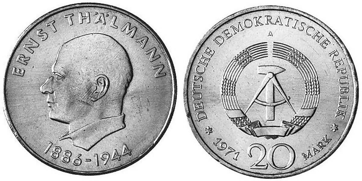 20 Mark Ernst Thälmann Ddr 1971 Muenzenladende