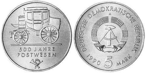 5-mark-ddr-500-jahre-postwesen-1990