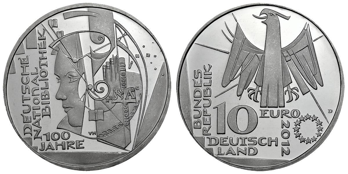 10 Euro 100 Jahre Deutsche Nationalbibliothek D 2012 Muenzenladende