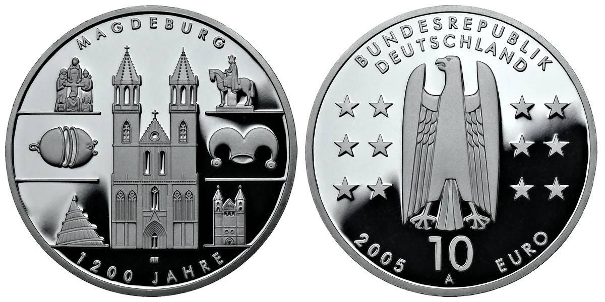 10 Euro Münze 2005 Wert Magdeburg Ausreise Info