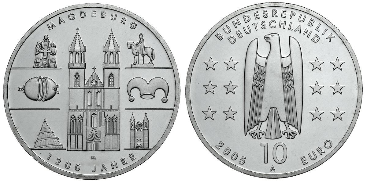 10 Euro 1200 Jahre Magdeburg Brd 2005 Muenzenladende