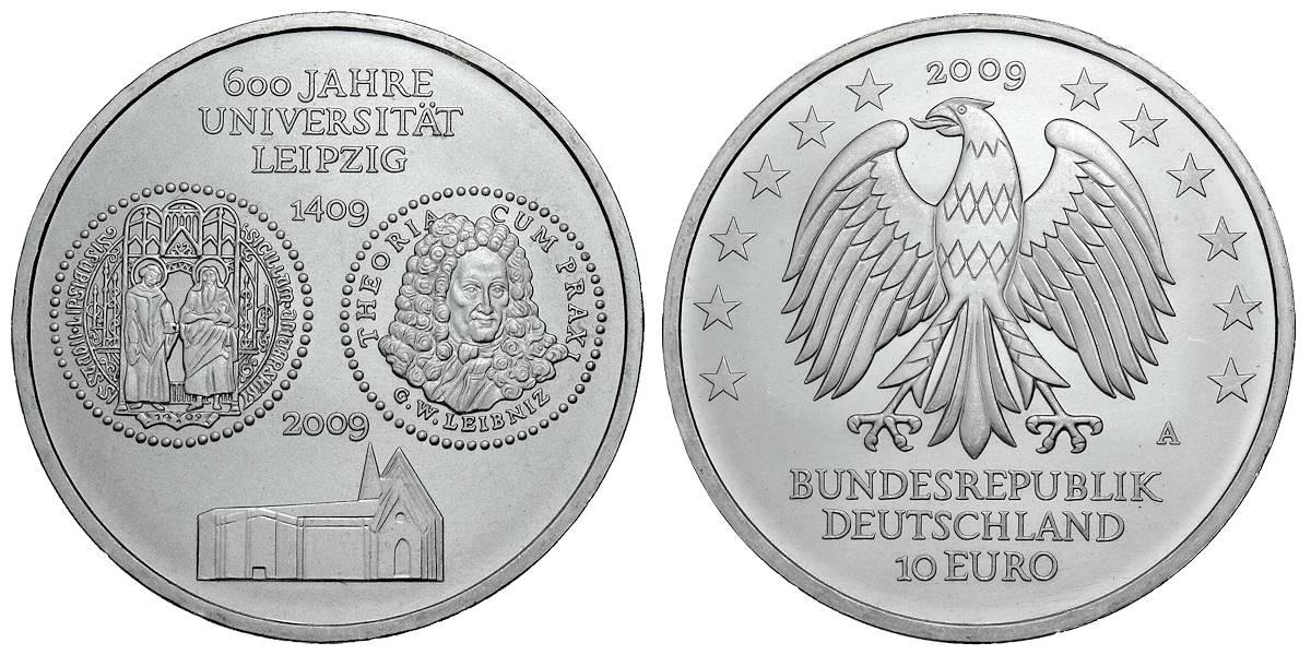 10 Euro 600 Jahre Universität Leipzig Brd 2009 Muenzenladende