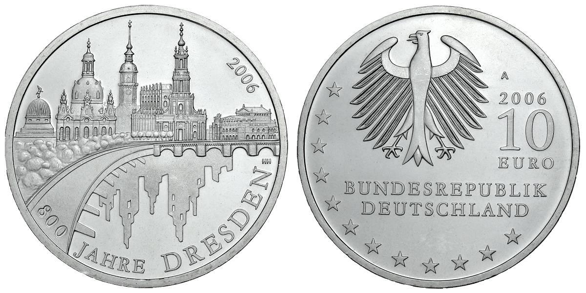10 Euro 800 Jahre Dresden Brd 2006 Muenzenladende