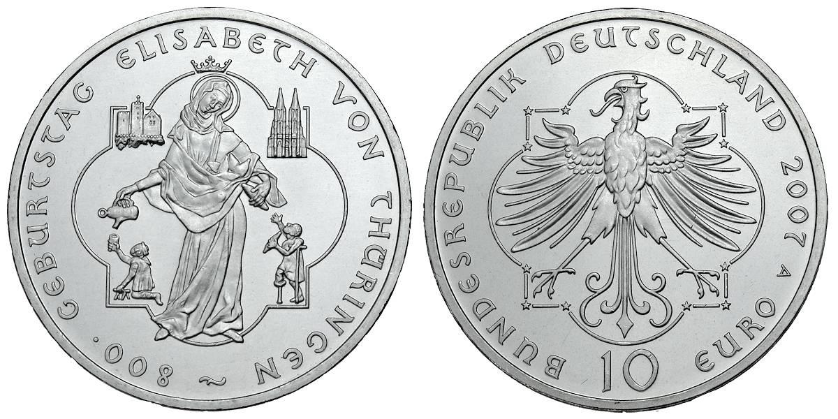 10 Euro Elisabeth Von Thüringen Brd 2007 Muenzenladende
