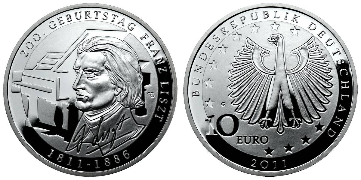 10 Euro Franz Liszt Brd 2011 Muenzenladende