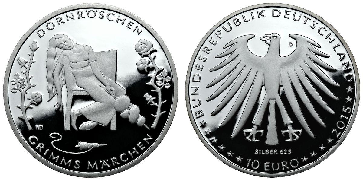 10 Euro Grimms Märchen Dornröschen Brd 2015 Muenzenladende