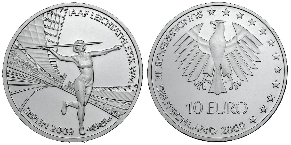 10 Euro Iaaf Leichtathletik Wm Berlin Brd 2009 Muenzenladende