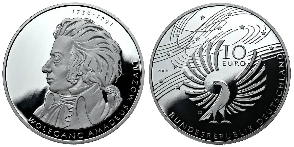 10 Euro Münze 2006 Wolfgang Amadeus Mozart Wert Ausreise Info