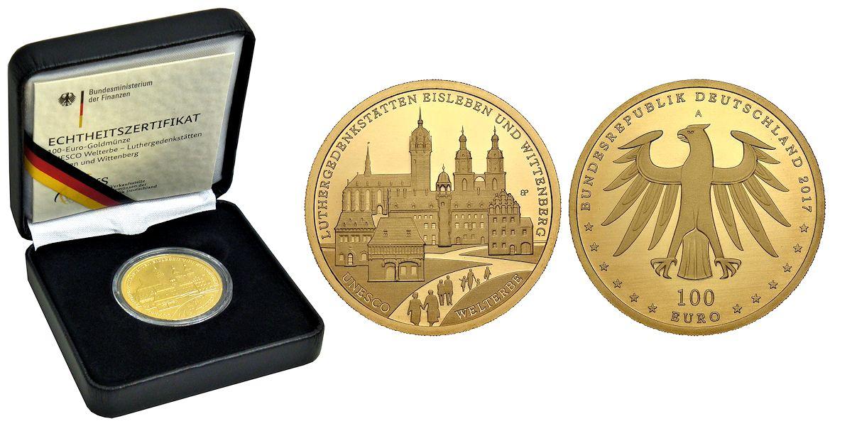 100 Euro Gold Luthergedenkstätten Brd 2017 Muenzenladende