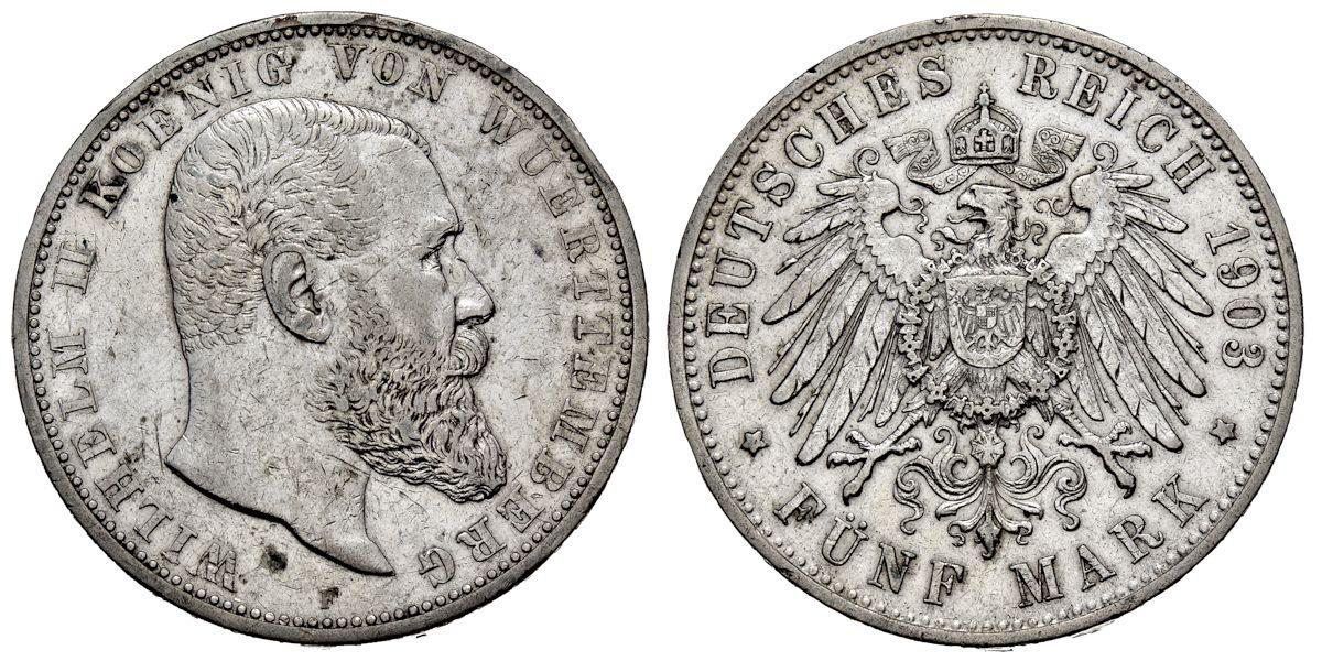 5 Mark Württemberg 1903 F Muenzenladende