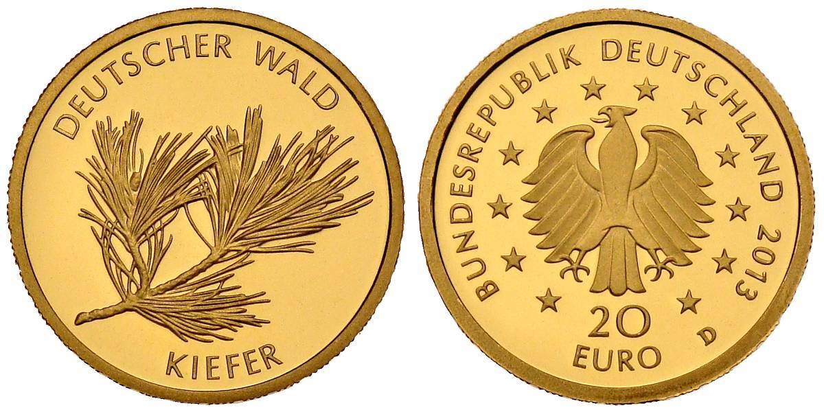 20 Euro Gold Deutscher Wald Kiefer Brd 2013 Muenzenladende