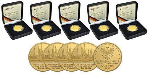 Satz-100-euro-unesco-welterbe-hansestadt-luebeck-brd-2007-st-etui