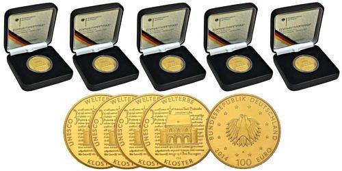 Satz-100-euro-unesco-welterbe-kloster-lorsch-brd-2014-st-etui