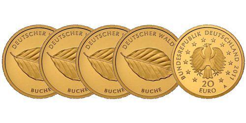 Satz-20-euro-gold-deutscher-wald-buche-brd-2011-st