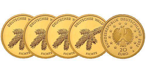 Satz-20-euro-gold-deutscher-wald-fichte-brd-2012-st