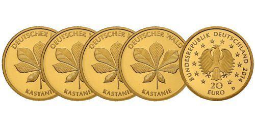 Satz-20-euro-gold-deutscher-wald-kastanie-brd-2014-st