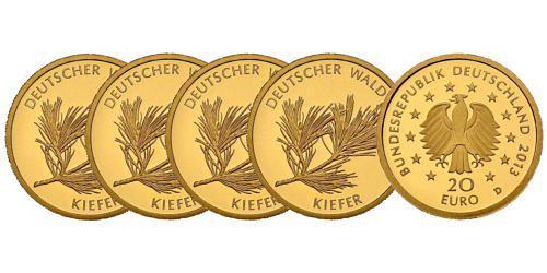 Satz-20-euro-gold-deutscher-wald-kiefer-brd-2013-st