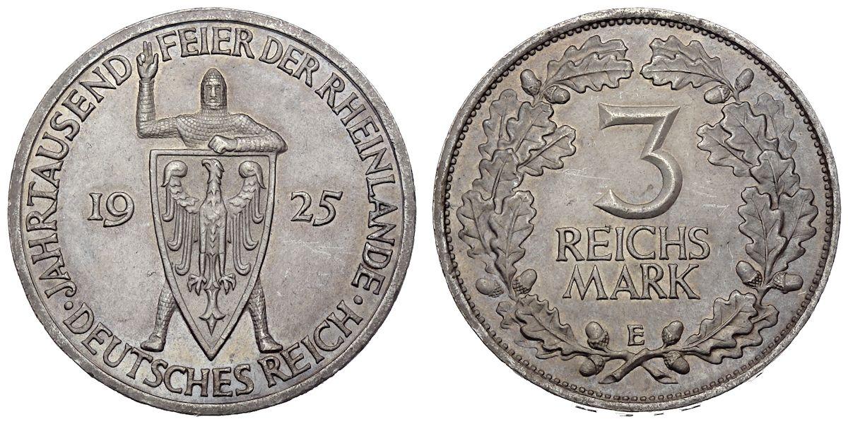 3 Reichsmark Jahrtausendfeier Der Rheinlande Deutsches Reich 1925 E