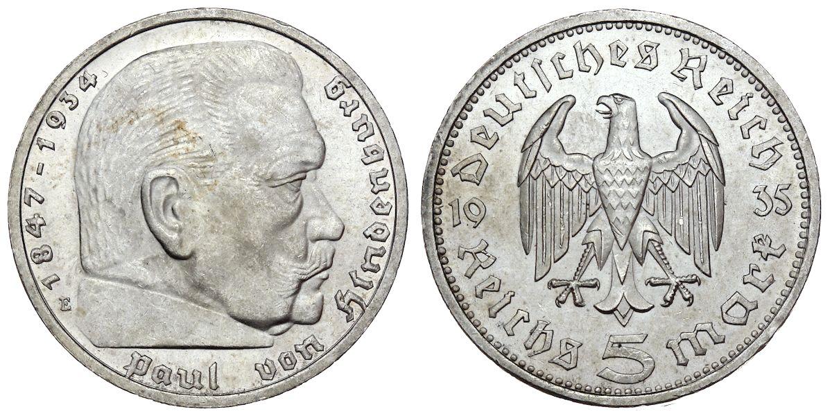 5 Reichsmark Hindenburg Deutsches Reich 1935 E Muenzenladende