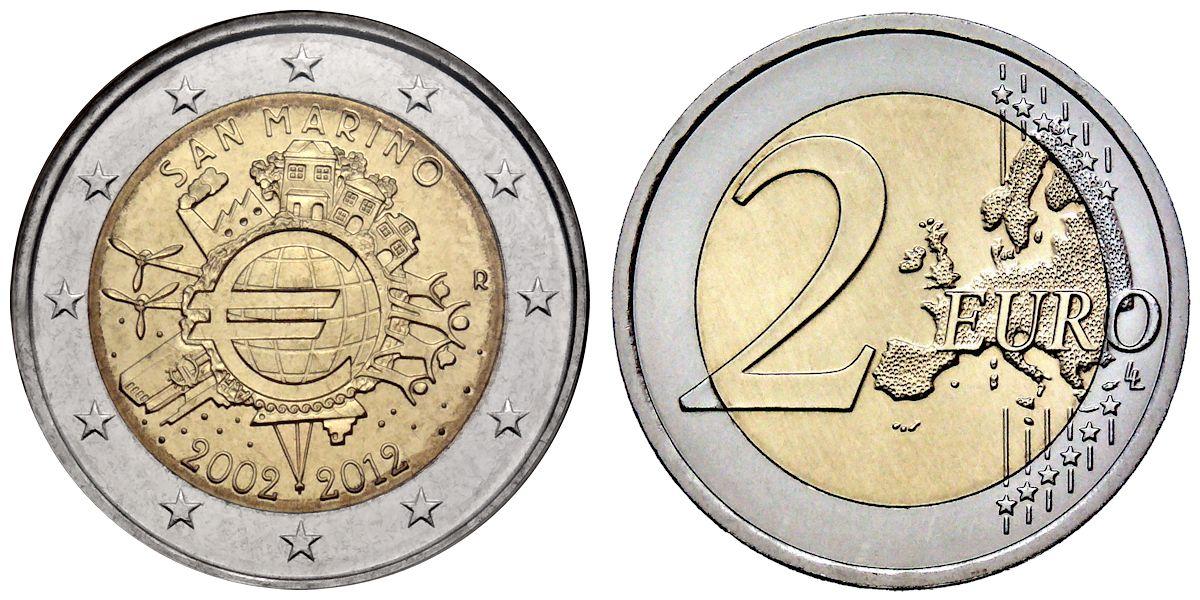 2 Euro 10 Jahre Euro Bargeld San Marino 2012 St Muenzenladende